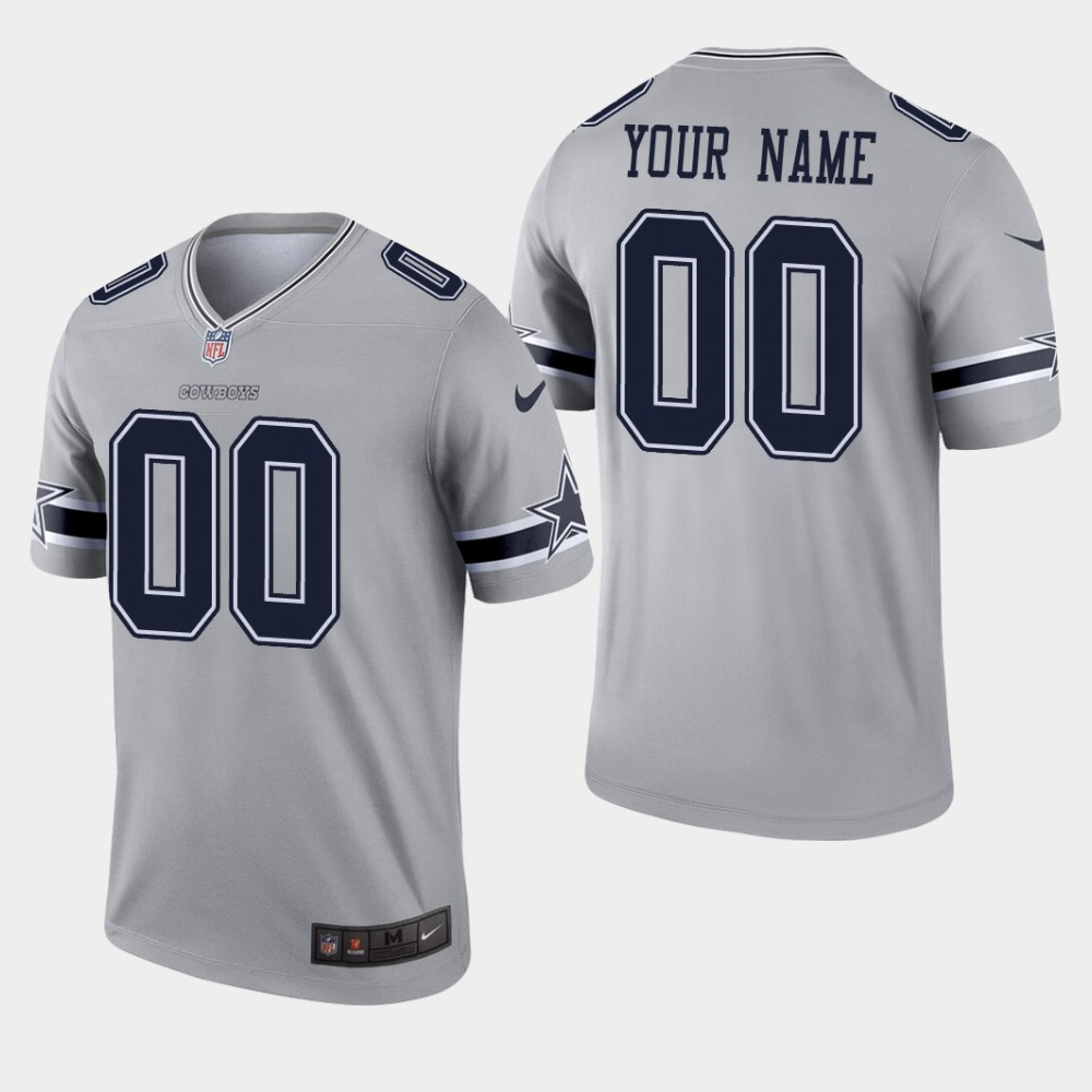Dallas Cowboys #00 Custom Inverted Legend Gray Jersey