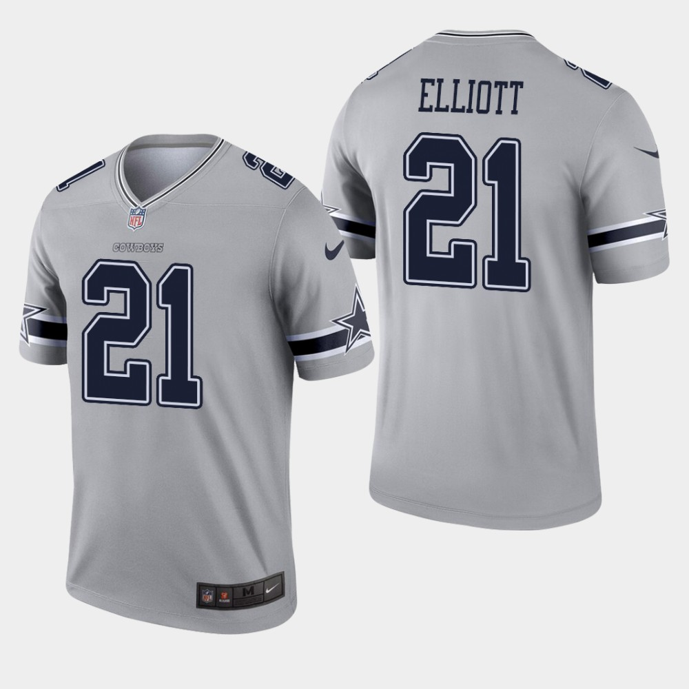 Dallas Cowboys #21 Ezekiel Elliott Inverted Legend Gray Jersey