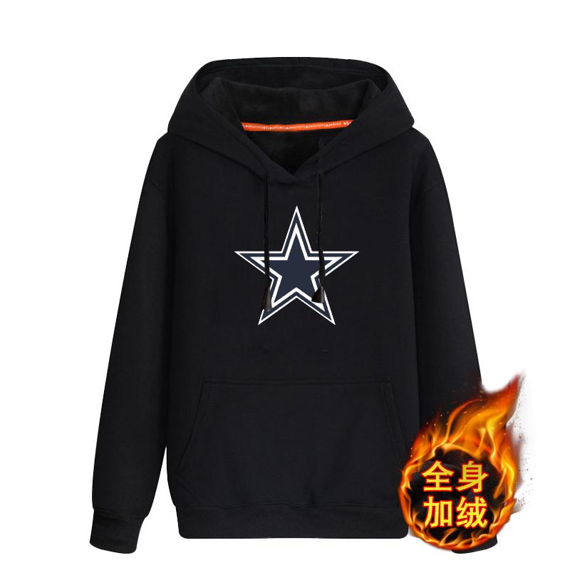 Dallas Cowboys Black Men's Winter Thick NFL Pullover Hoodie