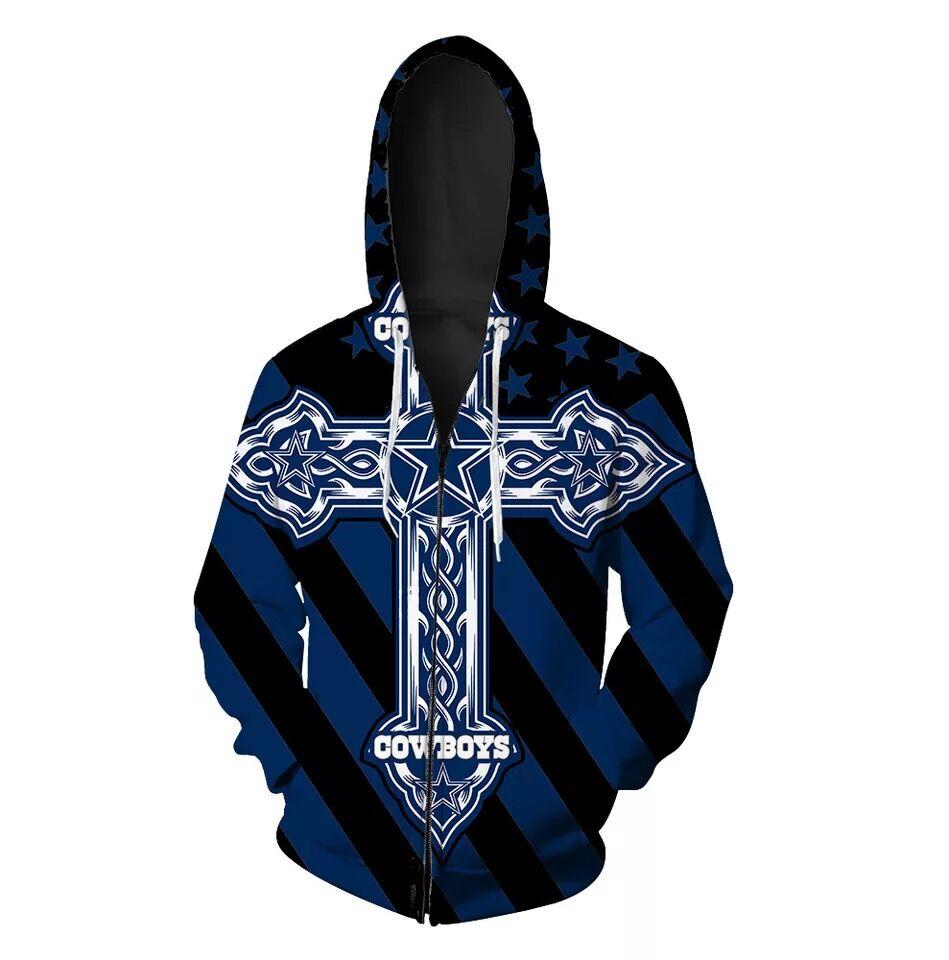Dallas Cowboys Full Zip 3D Hoodie