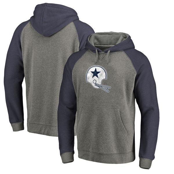 Dallas Cowboys NFL Pro Line By Fanatics Branded Throwback Logo Tri-Blend Raglan Pullover Hoodie Gray Navy
