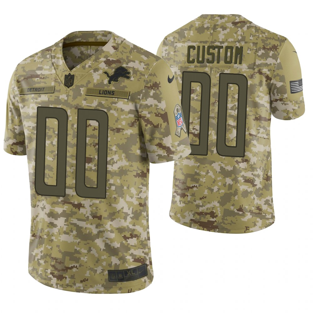 Detroit Lions Custom Camo 2018 Salute to Service Limited Jersey