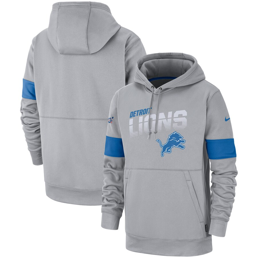 Detroit Lions Nike Sideline Team Logo Performance Pullover Hoodie Gray