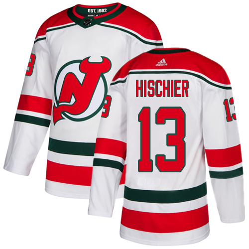 Devils #13 Nico Hischier White Alternate Authentic Stitched Hockey Jersey