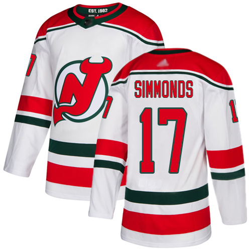 Devils #17 Wayne Simmonds White Alternate Authentic Stitched Hockey Jersey