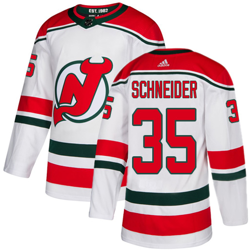 Devils #35 Cory Schneider White Alternate Authentic Stitched Hockey Jersey