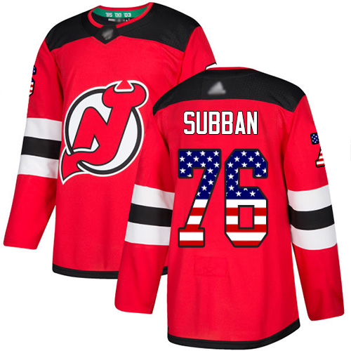 Devils #76 P. K. Subban Red Home Authentic USA Flag Stitched Youth Hockey Jersey