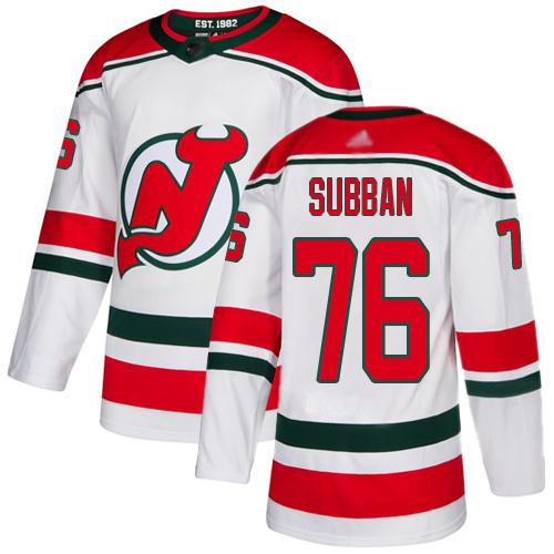 Devils #76 P. K. Subban White Alternate Authentic Stitched Hockey Jersey