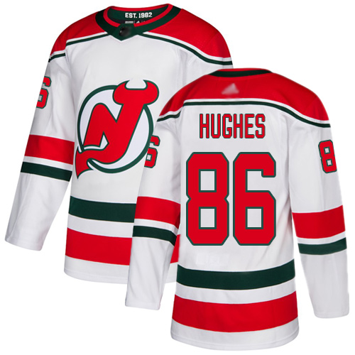 Devils #86 Jack Hughes White Alternate Authentic Stitched Hockey Jersey
