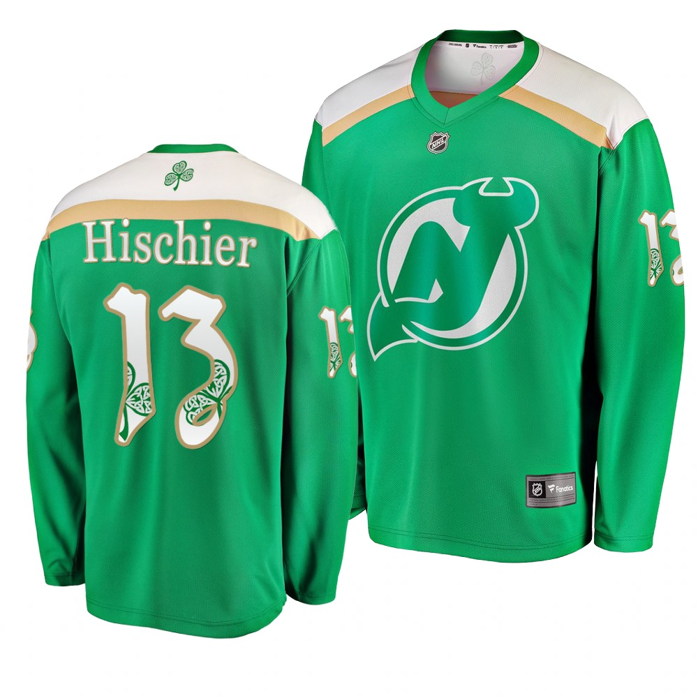 Devils 13 Nico Hischier Green 2019 St. Patrick's Day Adidas Jersey