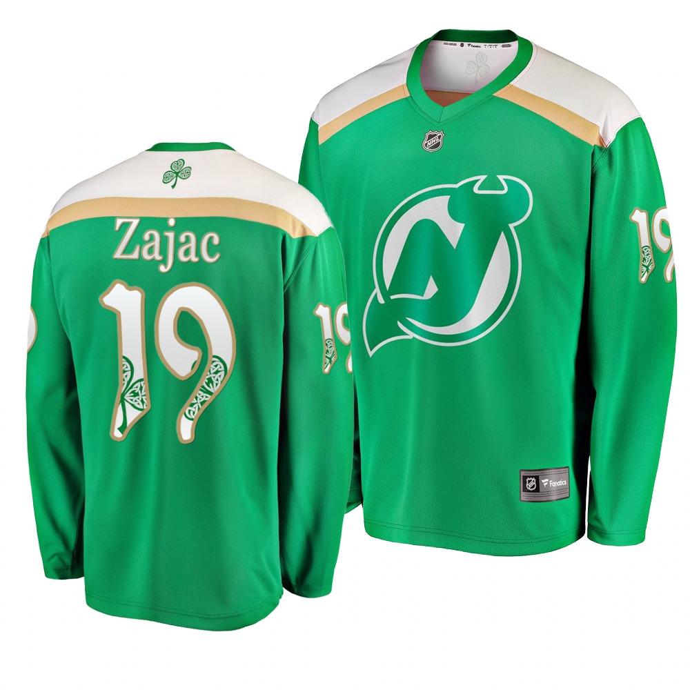 Devils 19 Travis Zajac Green 2019 St. Patrick's Day Adidas Jersey