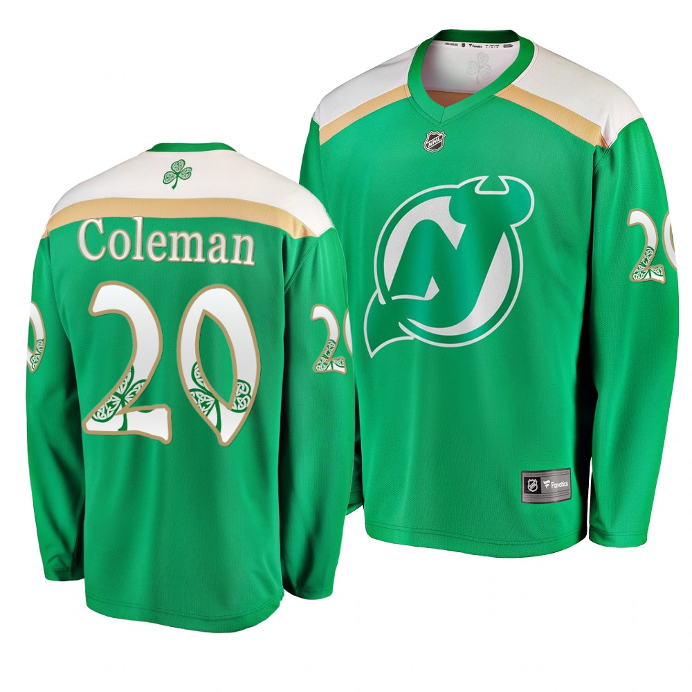 Devils 20 Blake Coleman Green 2019 St. Patrick's Day Adidas Jersey