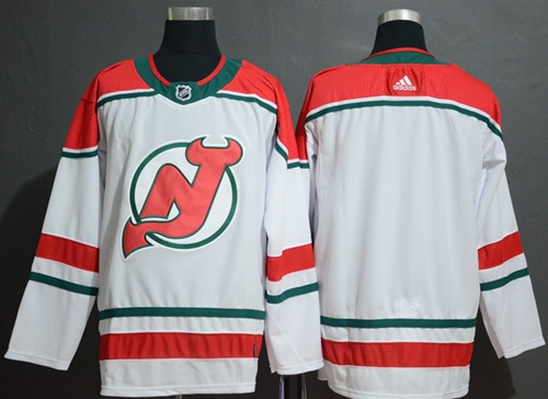 Devils Blank White Alternate Authentic Stitched Hockey Jersey