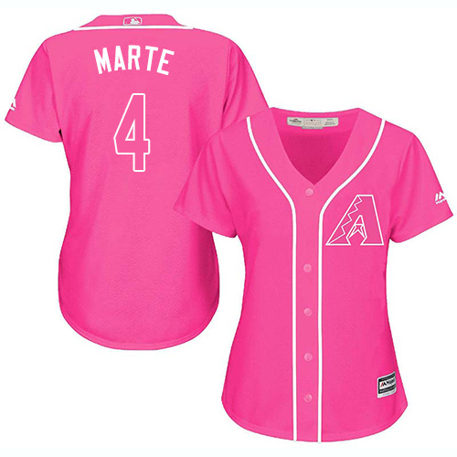 Diamondbacks #4 Ketel Marte Pink Fashion Women's Stitched Baseball Jersey