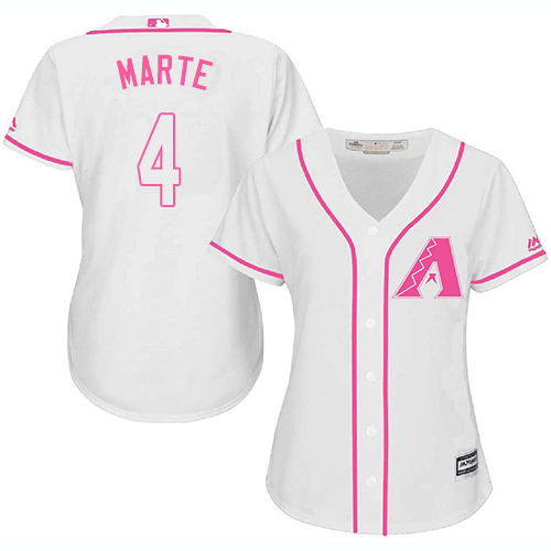 Diamondbacks #4 Ketel Marte White Pink Fashion Women's Stitched Baseball Jersey