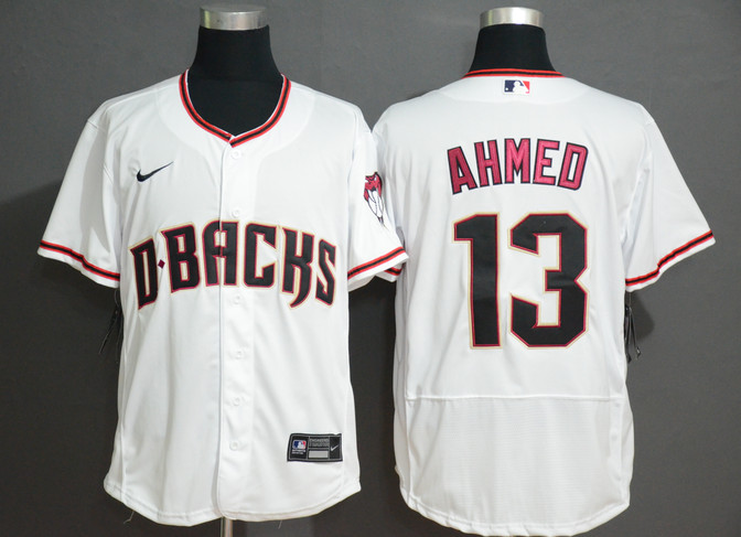 Diamondbacks 13 Nick Ahmed White Nike Flexbase Jersey
