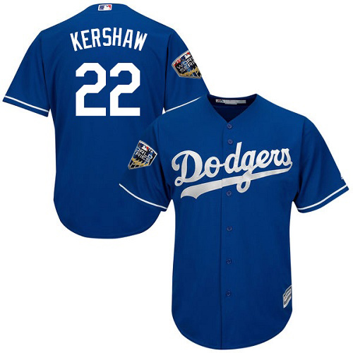 Dodgers #22 Clayton Kershaw Blue Cool Base 2018 World Series Stitched Youth MLB Jersey