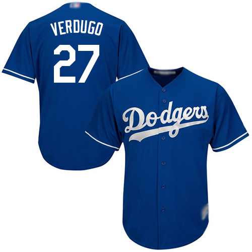 Dodgers #27 Alex Verdugo Blue New Cool Base Stitched Baseball Jersey