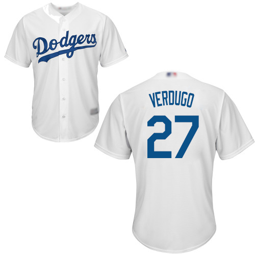 Dodgers #27 Alex Verdugo White New Cool Base Stitched Baseball Jersey