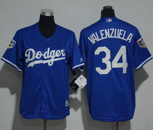 Dodgers #34 Fernando Valenzuela Blue Cool Base 2018 World Series Stitched Youth MLB Jersey