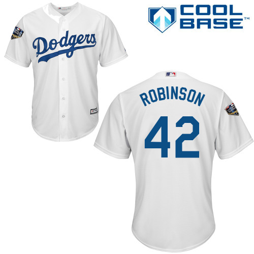 Dodgers #42 Jackie Robinson White Cool Base 2018 World Series Stitched Youth MLB Jersey