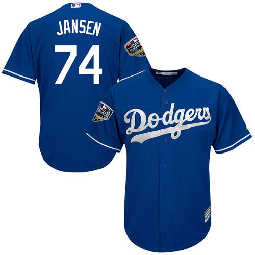 Dodgers #74 Kenley Jansen Blue Cool Base 2018 World Series Stitched Youth MLB Jersey