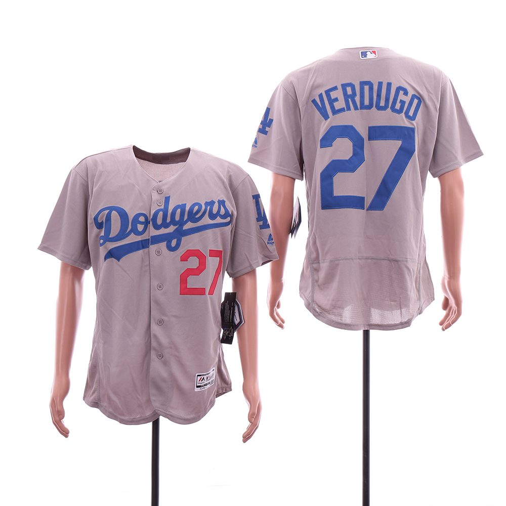 Dodgers 27 Alex Verdugo Gray Flexbase Jersey