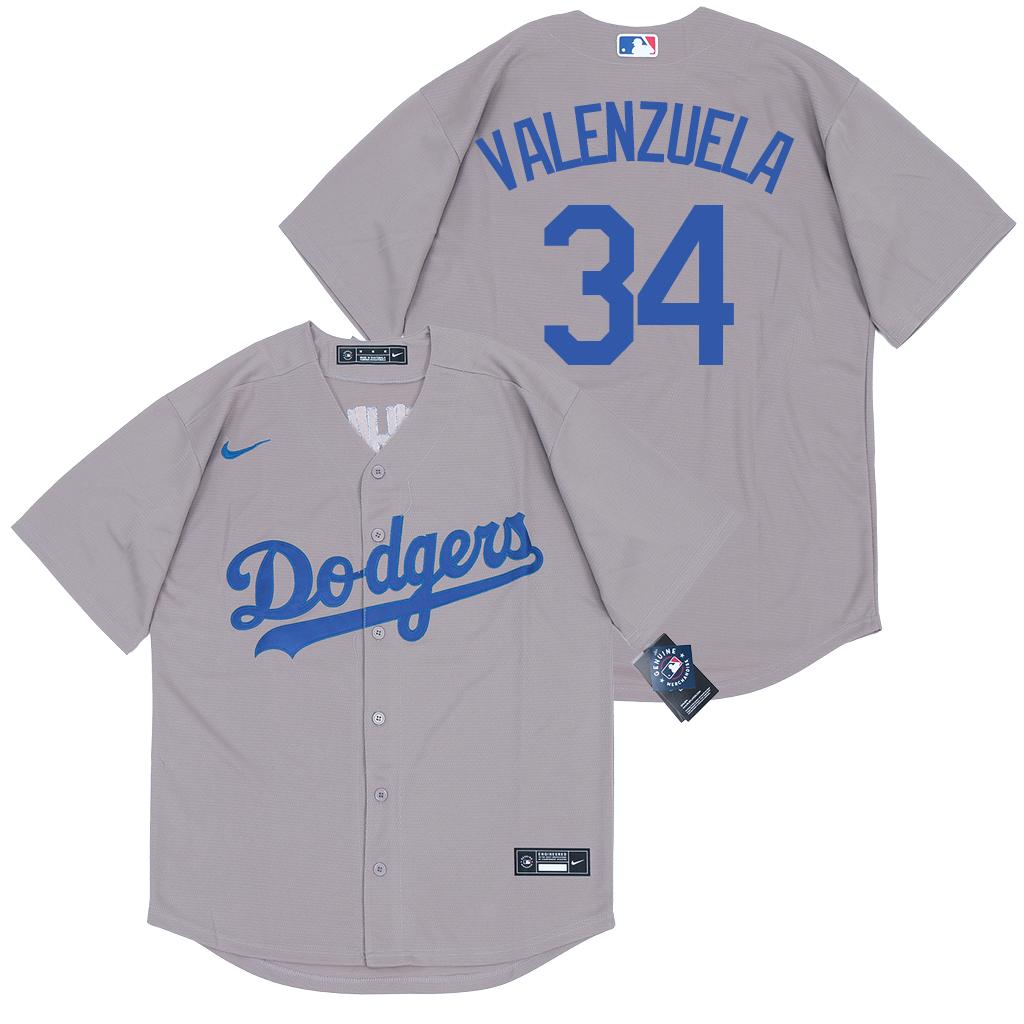 Dodgers 34 Fernando Valenzuela Gray 2020 Nike Cool Base Jersey