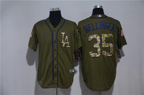 Dodgers 35 Cody Bellinger Olive 2020 Nike Cool Base Jersey