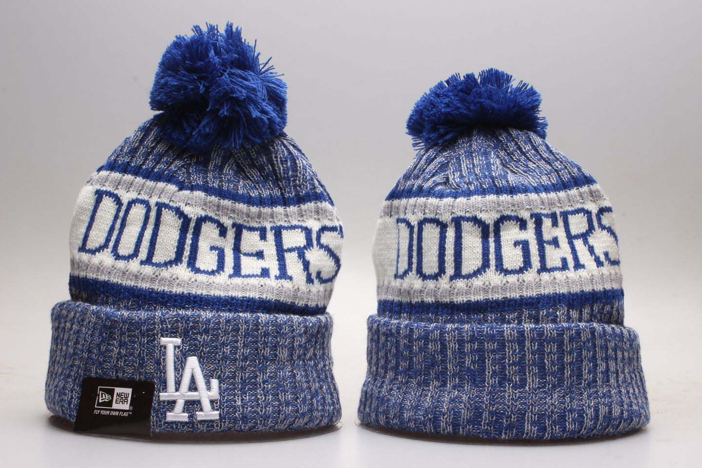 Dodgers Fresh Logo Blue Knit Hat With Pom YP