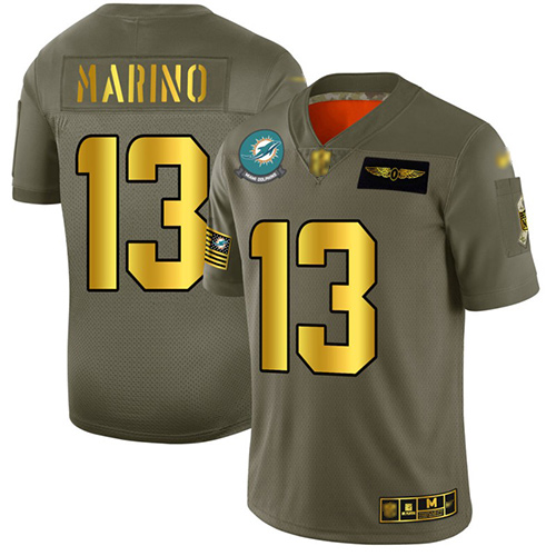 Dolphins #13 Dan Marino Camo Gold Men's Stitched Football Limited 2019 Salute To Service Jersey