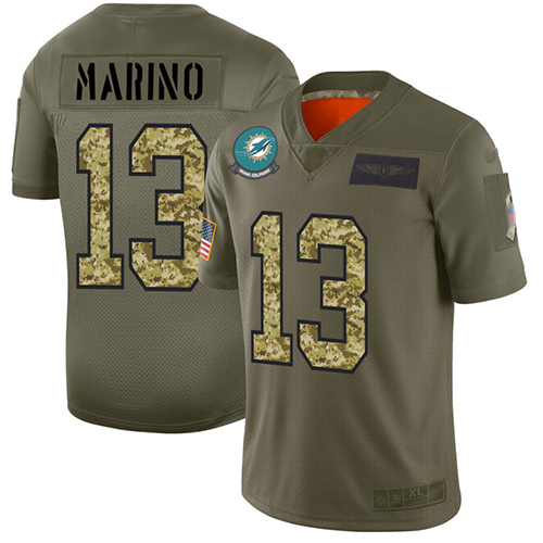 Dolphins #13 Dan Marino Olive Camo Men's Stitched Football Limited 2019 Salute To Service Jersey