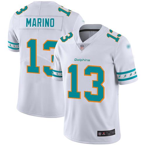 Dolphins #13 Dan Marino White Men's Stitched Football Limited Team Logo Fashion Jersey