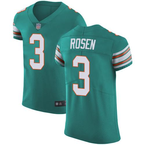 Dolphins #3 Josh Rosen Aqua Green Alternate Men's Stitched Football Vapor Untouchable Elite Jersey