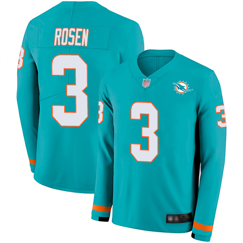 Dolphins #3 Josh Rosen Aqua Green Team Color Men's Stitched Football Limited Therma Long Sleeve Jersey
