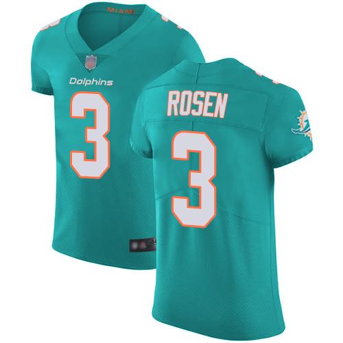 Dolphins #3 Josh Rosen Aqua Green Team Color Men's Stitched Football Vapor Untouchable Elite Jersey