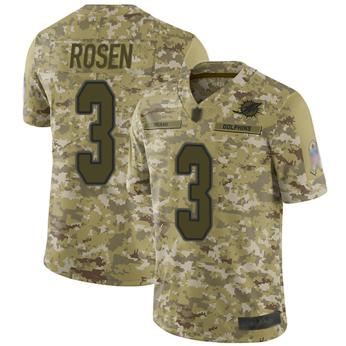 Dolphins #3 Josh Rosen Camo Men's Stitched Football Limited 2018 Salute To Service Jersey