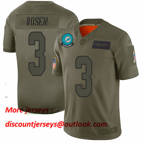Dolphins #3 Josh Rosen Camo Men's Stitched Football Limited 2019 Salute To Service Jersey