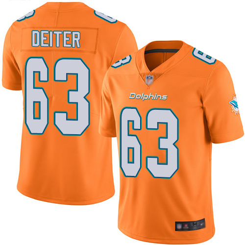 Dolphins #63 Michael Deiter Orange Men's Stitched Football Limited Rush Jersey