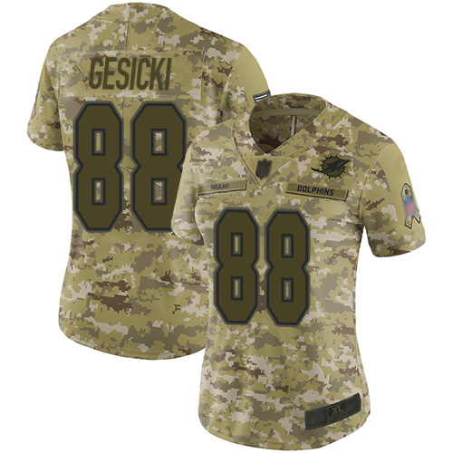 Dolphins #88 Mike Gesicki Camo Women's Stitched Football Limited 2018 Salute to Service Jersey