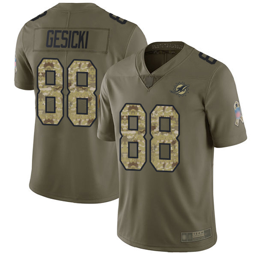 Dolphins #88 Mike Gesicki Olive Camo Men's Stitched Football Limited 2017 Salute To Service Jersey