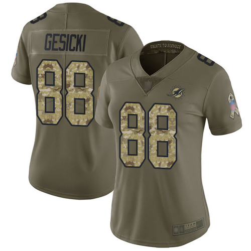 Dolphins #88 Mike Gesicki Olive Camo Women's Stitched Football Limited 2017 Salute to Service Jersey