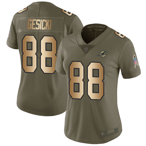 Dolphins #88 Mike Gesicki Olive Gold Women's Stitched Football Limited 2017 Salute to Service Jersey