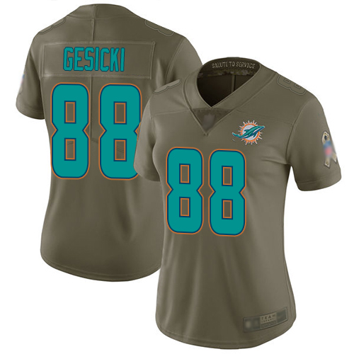 Dolphins #88 Mike Gesicki Olive Women's Stitched Football Limited 2017 Salute to Service Jersey