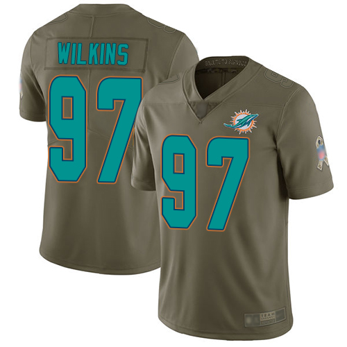 Dolphins #97 Christian Wilkins Olive Men's Stitched Football Limited 2017 Salute To Service Jersey