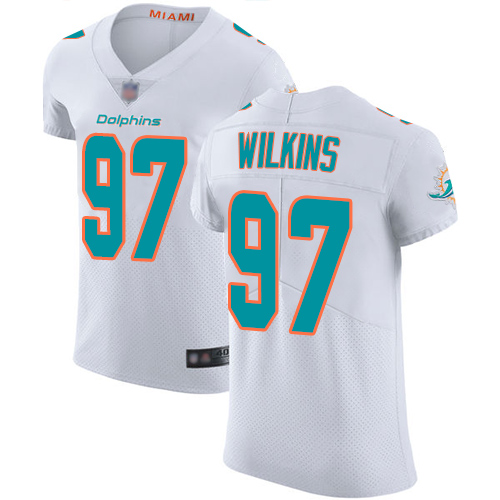 Dolphins #97 Christian Wilkins White Men's Stitched Football Vapor Untouchable Elite Jersey