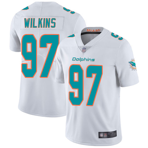 Dolphins #97 Christian Wilkins White Youth Stitched Football Vapor Untouchable Limited Jersey