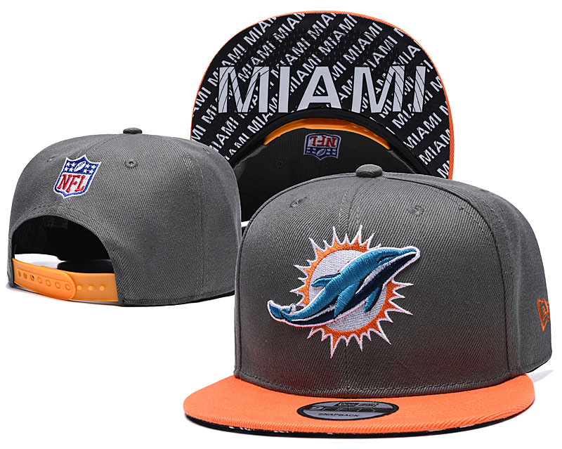 Dolphins Team Logo Gray Orange Adjustable Hat TX