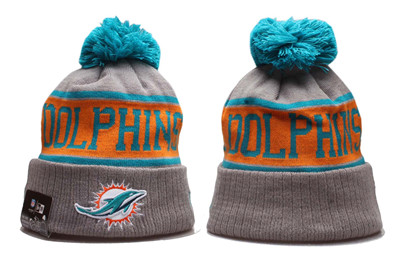 Dolphins Team Logo Gray Pom Knit Hat YP