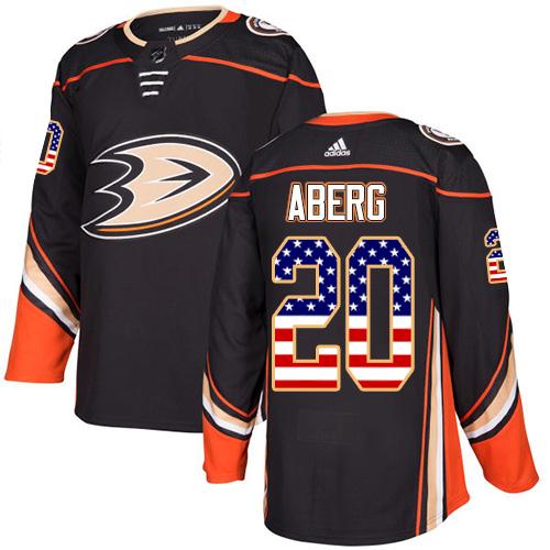 Ducks #20 Pontus Aberg Black Home Authentic USA Flag Stitched Hockey Jersey